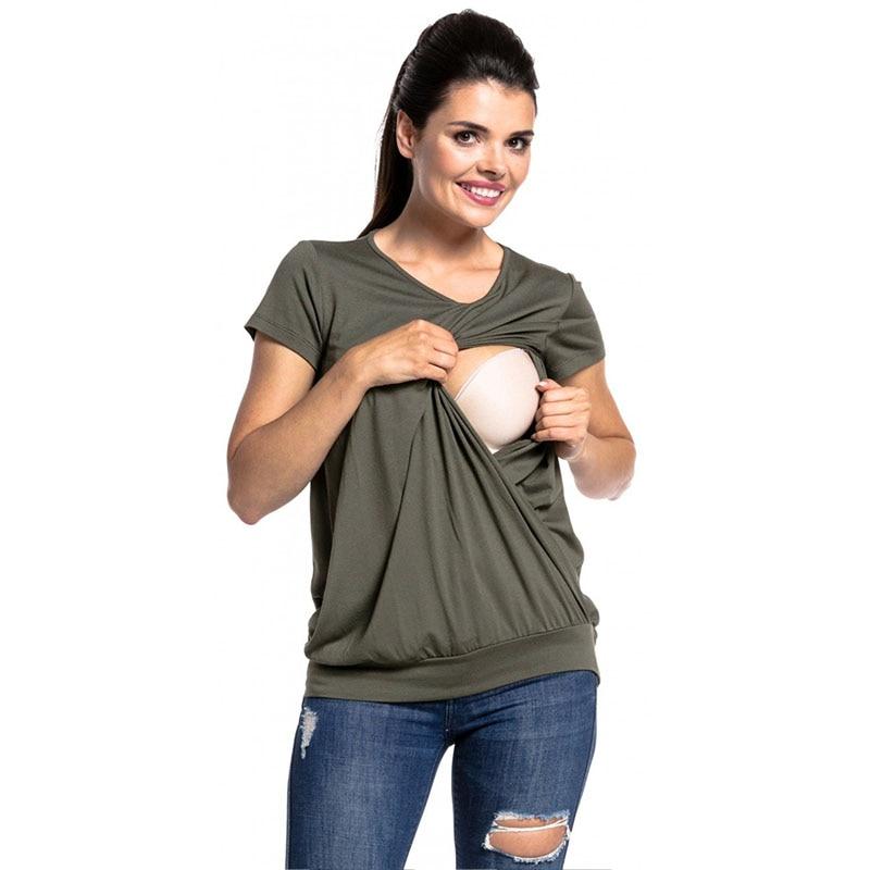 Nursing Top Maternity Breastfeeding Tee Short Sleeve T-Shirt Pregnancy Clothes For Pregnant Women Feeding Clothing Gravidas Wear casual short sleeve smiling face pattern tee for women