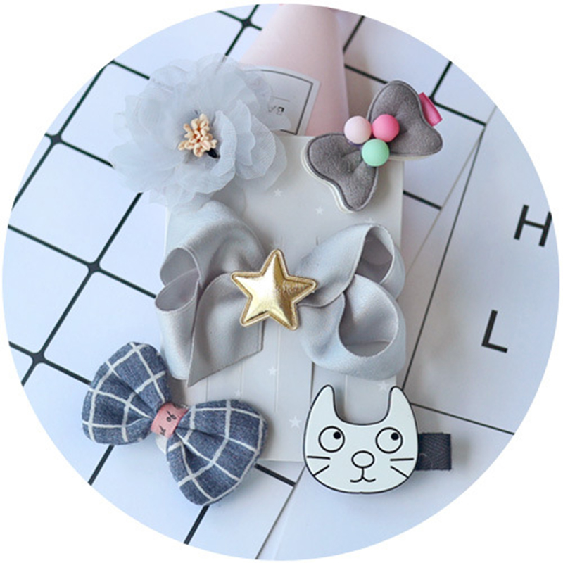 2018 5pcs/1lot Gray Safety Child Hair Accessories Baby Hair Clips DIY Hand All In One Bag Baby Hair Card Girl Hair Accessories