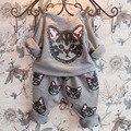 Cat Clothing Set Autumn Cotton Vetement Fille Long Sleeve T-shirt+Haren Pant 2 Pcs Roupas Infantis Menina Girl Cat Clothing Set