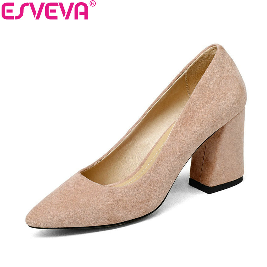 ESVEVA 2018 Women Pumps Sweet Style Square High Heel Flock Pointed Toe Spring and Autumn Elegant Shallow Ladies Shoes Size 34-43 esveva 2017 flock square toe women pumps concise black slip on shoes women spring autumn square low heel women pumps size 34 39