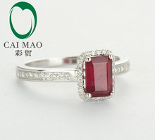 14ct White Gold Blood Ruby Naturald Diamond Ring Wholesale Jewelry 14k Gold Ring