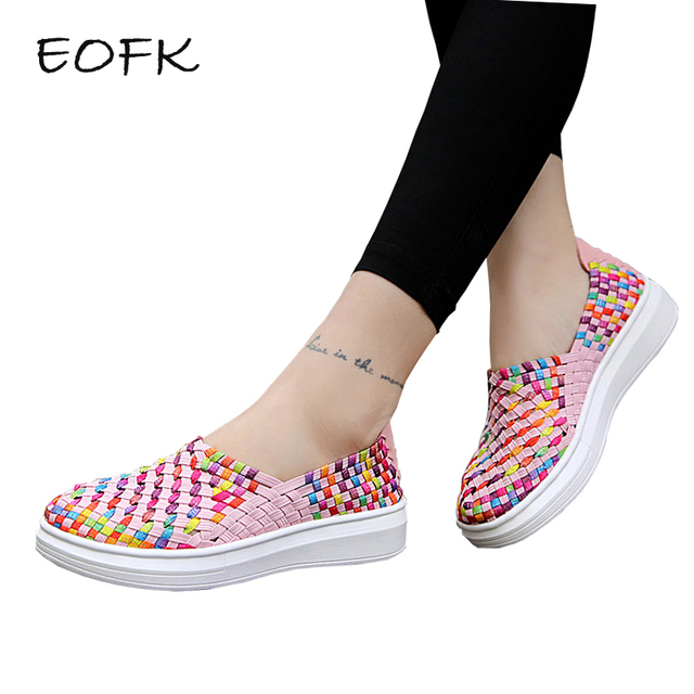 EOFK New design Summer Breathable Hollow Comfortable Women Flat Shoes Woman  Colorful Flats Women s Shoes Casual 735a1b601