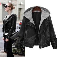 Europe American Women's Leather Jacket Large Size Female Thin Hooded Long sleeved Leather Women Short Coat Hot Sale