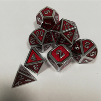 2019 Factory Dnd Metal Dice Set Rpg Polyhedral Dungeons and Dragons Digital Red Dices Table Games Zinc Alloy D20 6 10 8 12