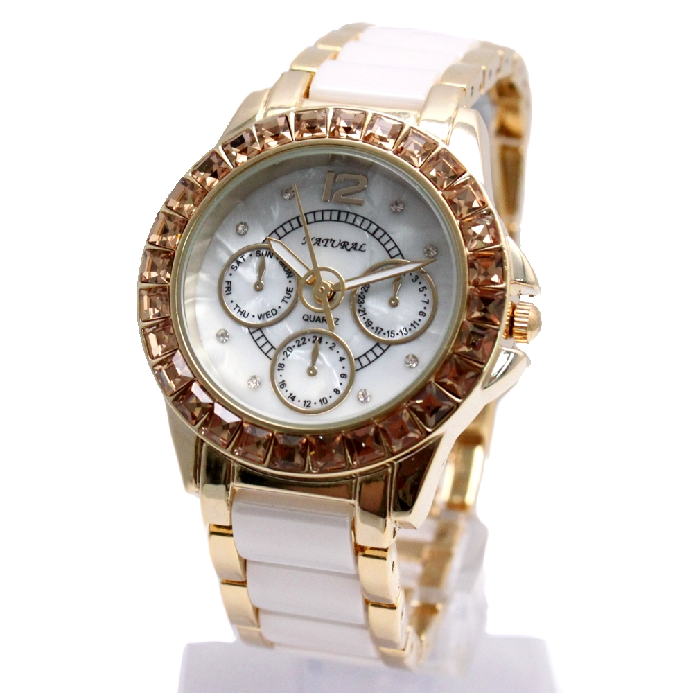 Alexis Brand New Gold + White Ceramic Crystal Water Resistant Bracelet Watch woman Ladies watches montre femme horloge dames natural brand new gold ceramic watches shell white dial water resistant rose crystal ladies bracelet watch fw830v free gift box