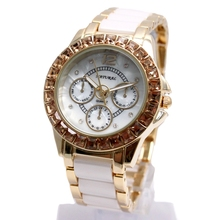 ФОТО fw830y new water resist white dial ladies ceramic water resistant bracelet watch