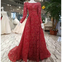 It's YiiYa Boat Neck Wine Red Full Sleeves Evening Dresses