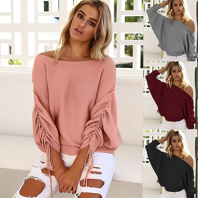 OYDDUP 2017 Autumn Women Off Shoulder Sweater Lace Up Women Sweaters and Pullovers  High Street Jumper Knitted Tops S-XL 4 Colors 771c43dae