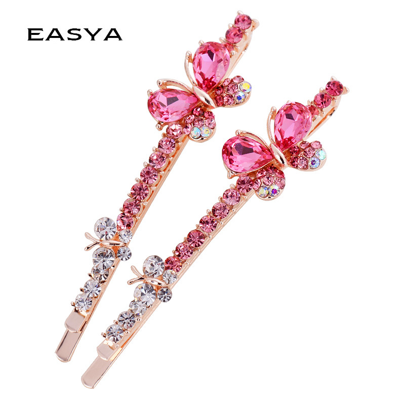 EASYA Classic Design 5 Colors Rhinestone Crystal Butterfly Hairpin Barrettes Jewelry New Fashion Sparkling Hair Clips For Women