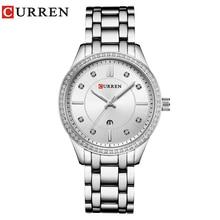 Curren 9010 moda de luxo relógios femininos relógio de quartzo pulseira data automática relógios de pulso pulseira de aço inoxidável