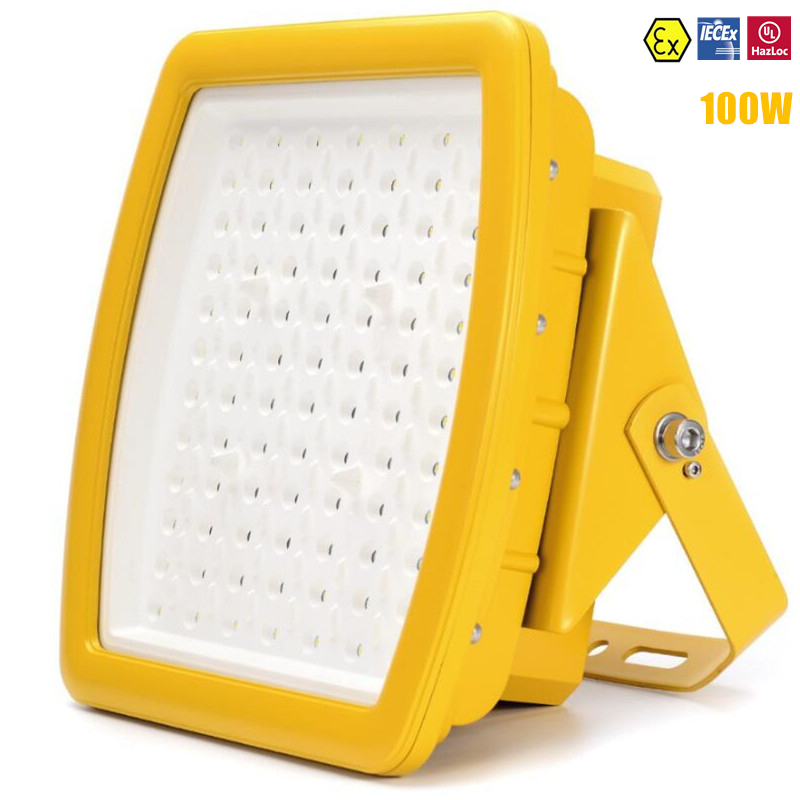 ATEX UL IECEx Explosion Proof LED Flood Light 100w Canopy Light AC110V 220V 240V UL DLC 100W LED Explosion Proof Light