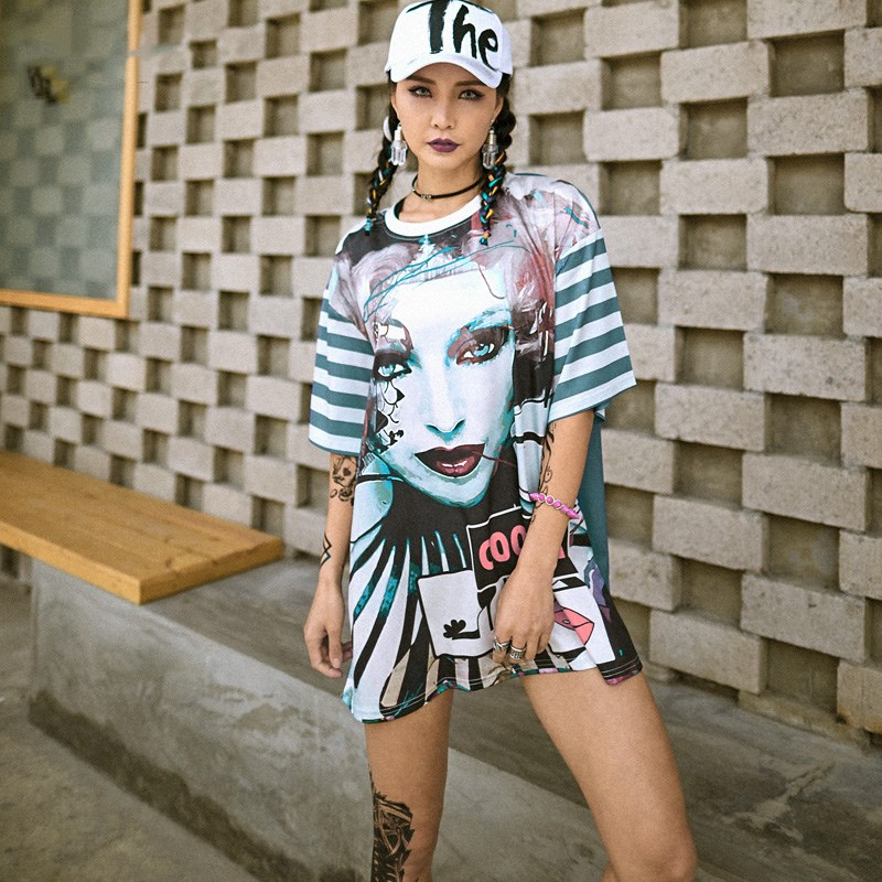 2018 New Women <font><b>T</b></font> <font><b>Shirts</b></font> <font><b>Dresses</b></font> Printed Letter Patchwork DJ <font><b>Rock</b></font> Hip Hop Tee <font><b>Shirts</b></font> Mini <font><b>Dress</b></font> Streetwear Skull Girls image