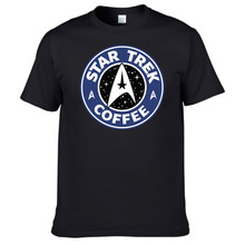 Star Trek Coffee Mens T Shirt 2016 Summer New Cotton Tops Brand Clothing Tshirt Homme Round Collar Black T-shirt Plus Size 3XL