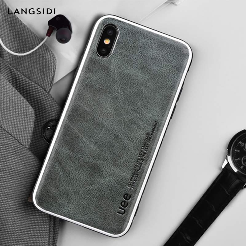 Image 2 - Genuine Leather for iphone 7 case fashion Business phone case for iPhone 8plus X XS Solid color Shock resistance protective case-in Phone Bumpers from Cellphones & Telecommunications