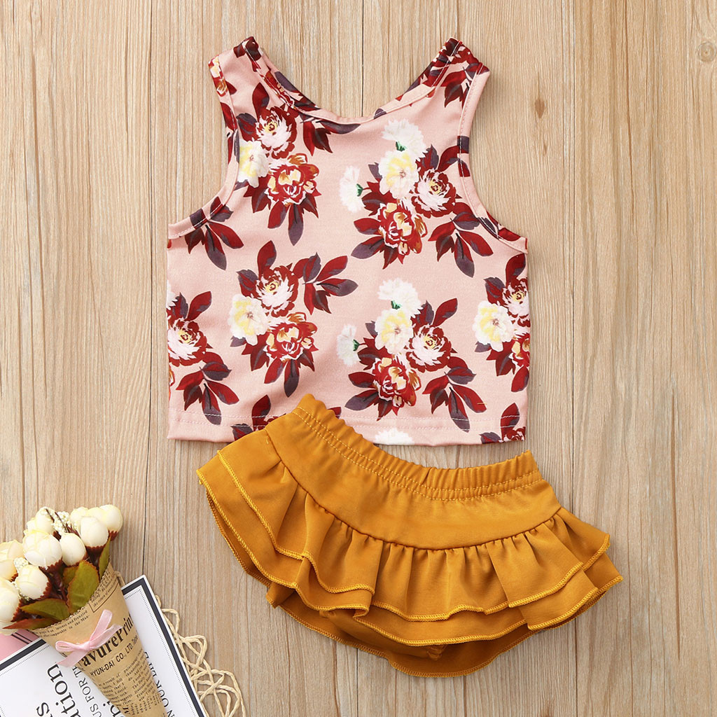 MUQGEW New Baby Girl Clothes Toddler Baby Kids Girls Floral Print Vest Tops Solid Ruffles Shorts Set Dropshipping Roupa Infantil