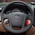 Caso para KIA Sportage volante cobre DIY de costura de couro genuíno volante do carro cobre estilo do carro Anti-slip car cobre