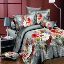 Double set quilt pillowcase Breathable quilt 3D BEAUTIFUL BEDDING SET FLOWER PRINTING DUVET COVER PILLOWCASE TWIN OR QUEEN(China)