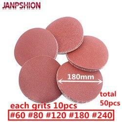 50 قطعة janpshion الرملي ورقة الصنفرة يتدفقون ذاتية اللصق ل ساندر 7 180 ملليمتر فريك 60 80 120 180 240 الأحمر جولة