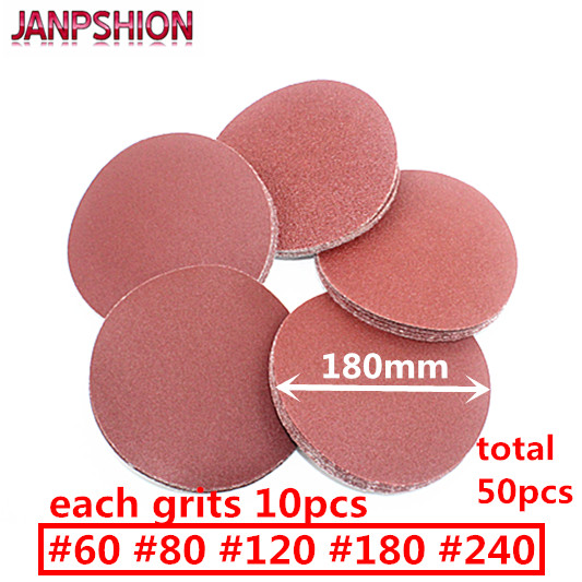 "JANPSHION 50pc کاغذ شن و ماسه شن و ماسه شن و ماسه جمع کردن چسب مخصوص Sandander 7 ""180mm Grits 60 80 120 180 240 round red"