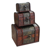 3Pcs Antique Wooden Box Handmade Trinket Storage Keepsake Ring/Necklace/Earrings Display Jewelry Case Gift Boxes 2019 Fashion