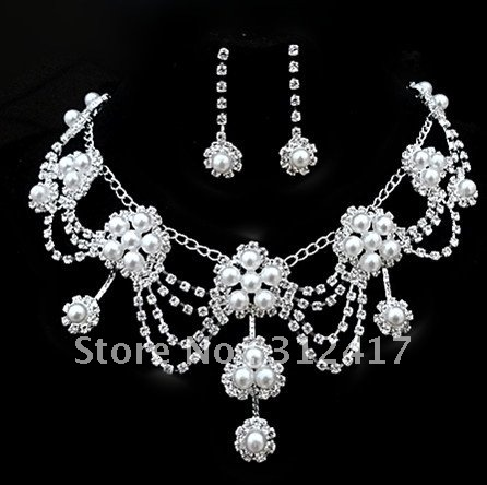 Wholesale And Retail Fashion Design Bridal Jewelry Sets With Pearl Costume Jewellery