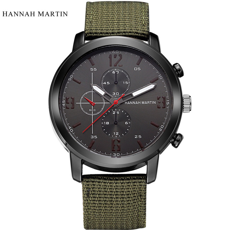 2017 Fashion Hannah Martin Men Date Stainless Steel Leather Analog Quartz Sport Wrist Watch blue shope 30%