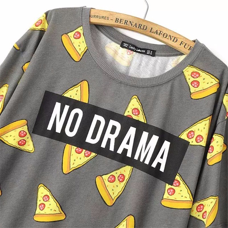 HTB1ZoJxOpXXXXXiXpXXq6xXFXXXS - No Drama Pizza Print Women T Shirts Short Sleeve