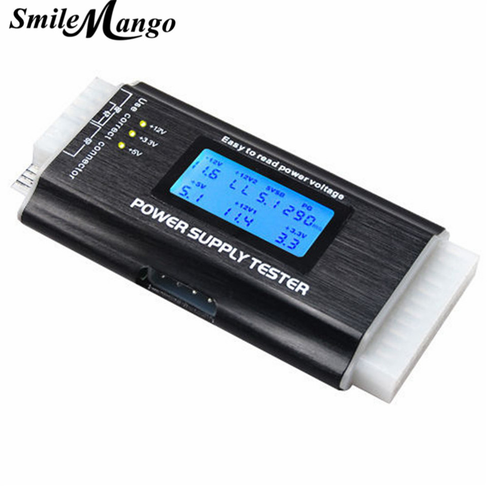 SmileMango ATX Power Supply Tester 20 24 Pin Sata LCD PSU HD ATX BTX Voltage Test Source pc computer digital lcd power supply tester 20 4p 24 pin psu atx btx itx diagnosis card ssd hdd sata cd com debug card