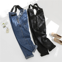 2019 New Spring Women Jeans Overalls Blue Fashion Safari Style Loose Casual Demin Jumpsuits Rompers
