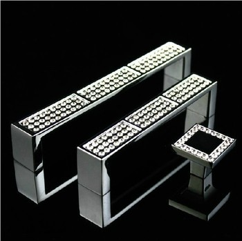 High Quality K9 Clear Crystal Furniture Handle with Zinc Alloy Chrome Metal Part (C.C.. 96mm,L:102mm)