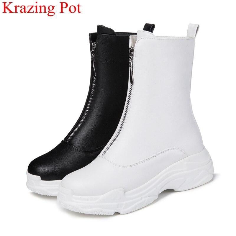 2018 Neue Ankunft Große Größe Zipper Plattform Runde Kappe Frauen Mid-kalb Stiefel Casual Büro Dame Concise Warm Halten Winter Schuhe L36