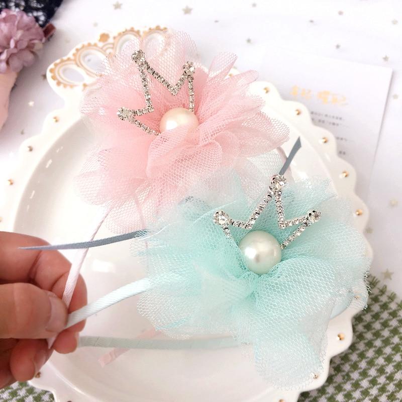 Korea Hair Accessories lovely Flower Crown Hair Band Cotton Headband For Girls Hair Bow Princess 4
