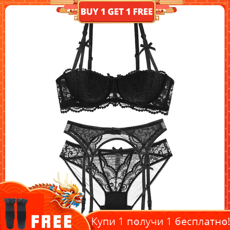 shaonvmeiwu Sexy lace 1/2 cup lingerie   bra     set   seduces 4 pieces with stockings and stockings
