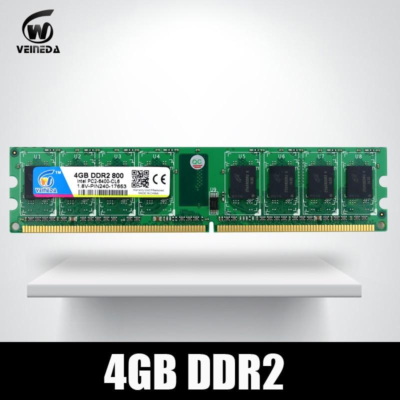 VEINEDA Memoria Ram ddr2 4 gb 800 pc2-6400 Kompatibel ddr2 4 gb 667 PC5300 für Intel AMD Mobo