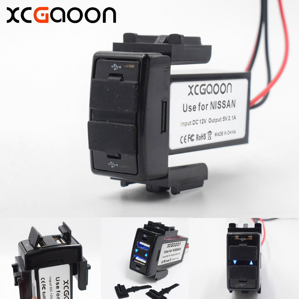 XCGaoon Spécial 5 V 2.1A 2 USB Interface Socket Chargeur De Voiture Adaptateur pour NISSAN, DC-DC Power Inverter Convertisseur
