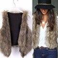 Mujer vintage de trend celeb faux fur chaleco chaleco chal chaqueta de la capa tops s-xl