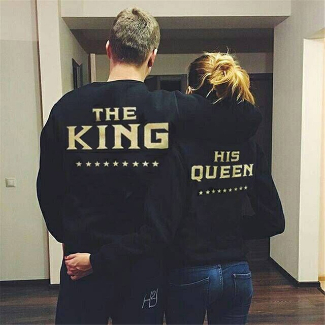 Creative New Top Shirts King Queen Letter Womens Long Sleeve Tops Shirts Women Sweater Top Shirts Men Harajuku
