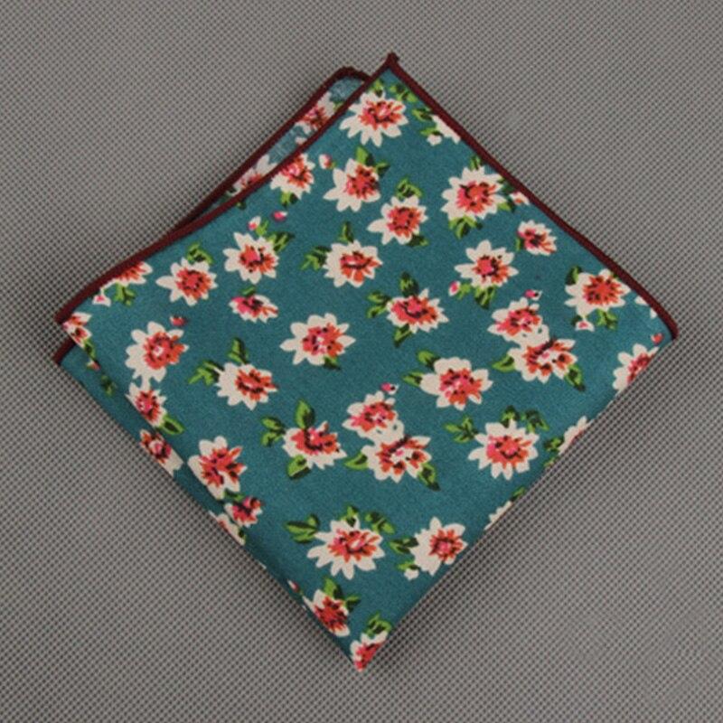 Fashion Suits Flower Printing Pocket Square 23cm*23cm Men's Cotton Handkerchiefs Chest Towel Ladies Hanky Hankies