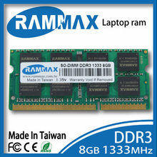 Brand sealed Laptop DDR3 Ram Memory 1x8GB SO-DIMM1333Mhz PC3-10600 204pin workable for all motherboard of Notebook Free Shipping