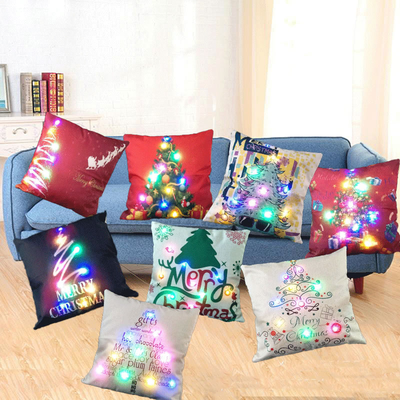 Wholesale Christmas Cushion Cover LED Light Flax Throw Pillow Case Cushion Cover Home Decor Hot Sale 45x45cm F