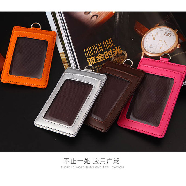 Genuine leather Credit Card Holders slim Women Girl Neck Strap Coin Purse card  Wallet Card Bus ID With Lanyard a77131c3a