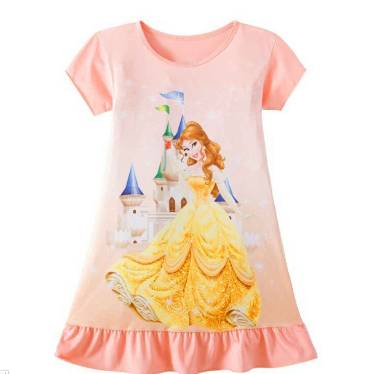 Toddler Kid Baby Girl Rapunzel Belle Aurora Princess Print Clothes Party Dress Party 1 birthday Wedding New Year Baby Dress