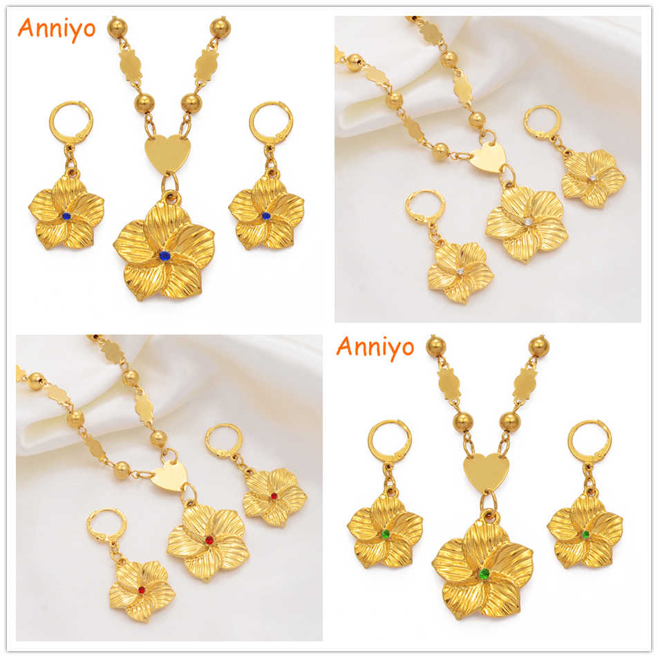 Anniyo Hawaiian Plumeria Pendant Necklaces Earrings Women Girl Gold Color Guam Micronesia Marshall Flower Jewelry Set #213806