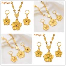 Anniyo Hawaiian Plumeria Pendant Necklaces Earrings Women Girl Gold Color Guam Micronesia Marshall Flower Jewelry Set #213806