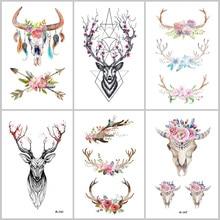 Wyuen Hot Designs Deer Temporary Tattoo For Women Body Art 9.8X6cm Waterproof Hand Fake Tatoo Sticker Elk Animal AA-008