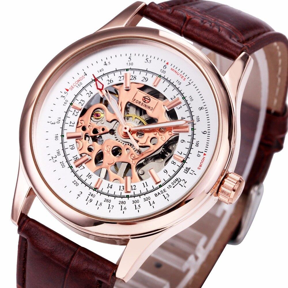 font b WINNER b font Men Retro Mechanical Semi automatic Wrist Watches Analog Display Luminous