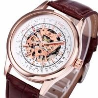 WINNAAR Mannen Retro Mechanische Semi-automatische Horloges Analoge Display Lichtgevende Handen Lederen Band Skeleton Horloge voor Mannen + Doos
