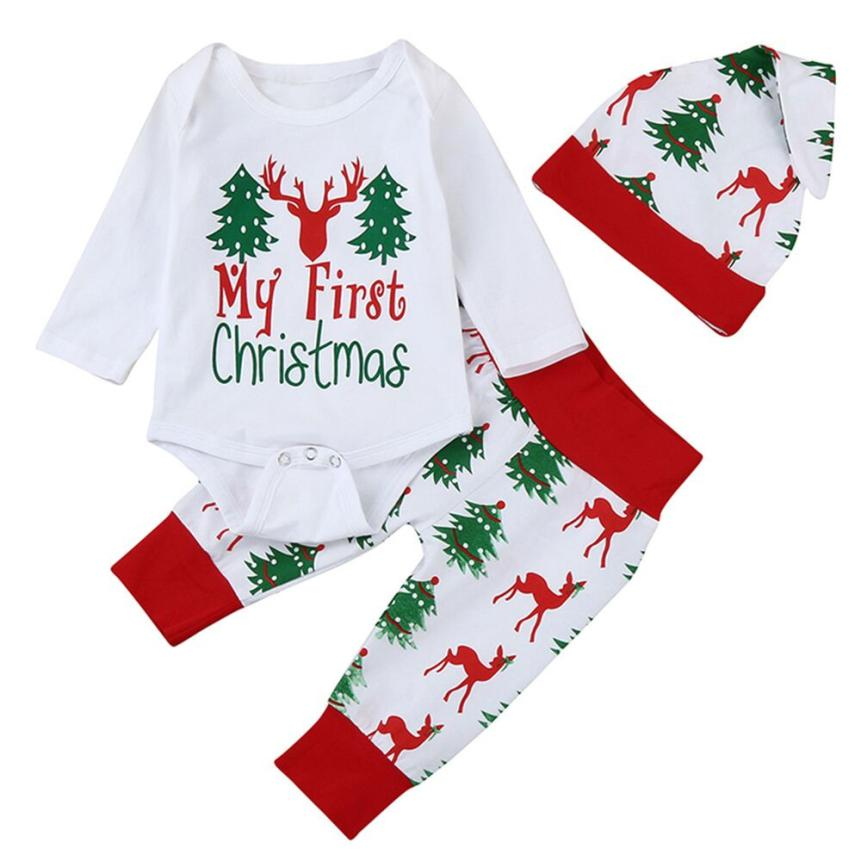 MUQGEW Newborn Baby Boy Girl 1St Birthday Letter Print Tops+Pant+Cap 3PCS Baby Christmas Outfits Roupa Infantil QZ06