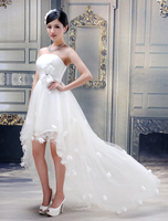 2015 New Hot Sale White Sweetheart Beaded Belt Front Short Long Back Ruched Wedding Dresses Free