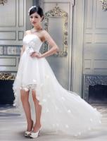 2015 New Hot Sale White Sweetheart Beaded Belt Front Short Long Back Ruched Wedding Dresses Free